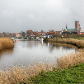 Ribe I by Steen Rasmussen - Landscapes Travel ( water, stream, church, ribe, boats, steen, travel, photography, viking, danmark, steenr.com, rasmussen, denmark, town, steenr.steenr.dk )