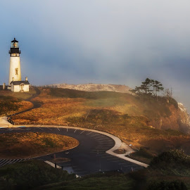 Yaquina Head Lighthouse at Sunrise by Ken McDougal - Buildings & Architecture Public & Historical ( oregon coast lighthouses, lighthouses in oregon, lighthouses in fog, historic lighthouses, neport oregon, yaquina head lighthouse, lighthouses at sunrise )