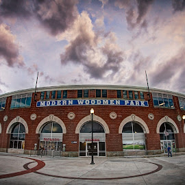 Modern Woodmen Park by Stephen Burroughs - Buildings & Architecture Public & Historical ( modern woodmen park, building, ball park, baseball, river bandits, sunset, stadium, minor league baseball )