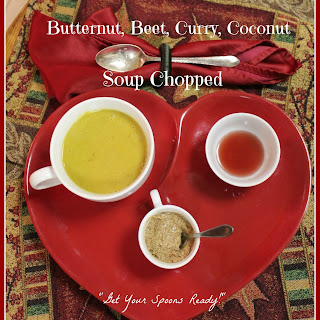 Butternut, Beet, Curry, Coconut Soup Chopped