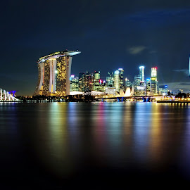 Skyline at night by Ken Goh - City,  Street & Park  Skylines