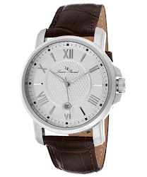 Lucien Piccard Men's Cilindro Silver Dial Brown Genuine Leather LP-12358-02S Watch
