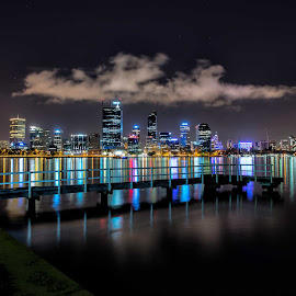 perth from south perth foreshore by Jeff Miles - City,  Street & Park  Skylines ( skyline, perth, swan river, nikon, south perth )