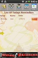 Screenshot of Event Reminder