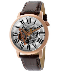 Rotary Men's Silver Tone Skeletonize Dial Brown Genuine Leather
