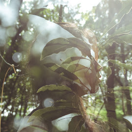 Butterfly by Evander Kek - People Body Parts ( double exposure, girl, leafs, forest, sun )