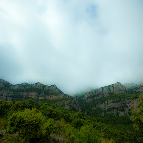 Into The Mists by Andrew Ng - Landscapes Mountains & Hills ( europe, mists, mountain range, montserrat, travel, barcelona )
