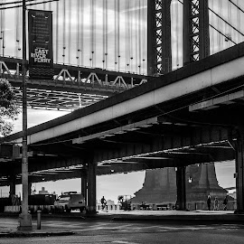 Manhattan Bridge by Lukas Dreser - City,  Street & Park  Neighborhoods ( raw, crosswalk, street, busy, signage, signal, travel, architecture, city, modern, area, lifestyle, map, commute, hectic, downtown, black, signs, slum, building, white, manhattan, new york, morning, main, urban, traffic, walk, early )