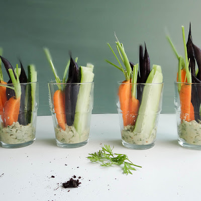 Individual Crudites with White Bean Basil Hummus