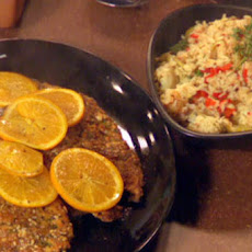 Spanish Chicken Cutlets and Olive Rice with Artichokes and Piquillo Peppers