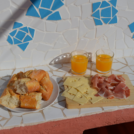 Valencian breakfast by Den Girnyk - Food & Drink Plated Food ( orange, jamon, juice, cheese, baguet )