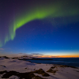 Sunset with northern light by Geir Hammer - Landscapes Sunsets & Sunrises ( orange, green, aurora borealis, aurora, northern lights, north, landscape, tromsø, norway, northern, sky, blue sky, sunset, snow )