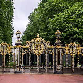 Canada Gates by Donna Brittain - City,  Street & Park  Historic Districts ( uk, london, canada, green park, canadian, canada gates, monument, gold, cityscape, gates )