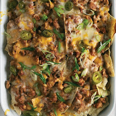 Spicy Sausage, Bean, and Cheese Nachos