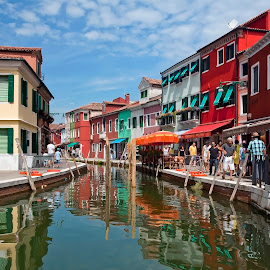 Island of Burano by Robert Little - Buildings & Architecture Homes ( #pastell #buildings #colours #reflections #venice #water )