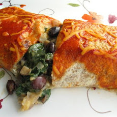 Black Bean, Spinach and Mushroom Burritos