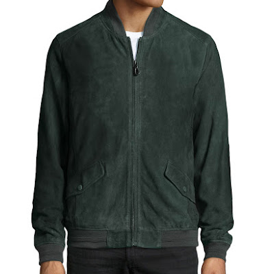 Robert Graham Suede Zip-Front Bomber Jacket, Dusk - (XL)