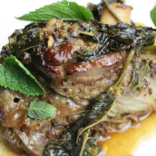 Fall-Apart Lamb Shanks Braised with Mustard and Mint