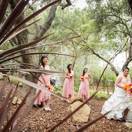 With Pink Rustic Angels by Yansen Setiawan - Wedding Groups ( creative, art, losangeles, bridesmaid, illusion, love, fineart, yansensetiawanphotography, prewedding, d800, wedding, lifestyle, la, photographer, yansensetiawan, nikon, yansen, engagement )