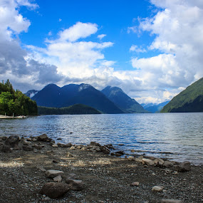 Alouette Lake by Devin Rieger - Landscapes Beaches ( water, alouette, mountains, canada, sunny, lake, beach, rocks )
