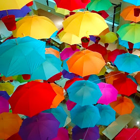 Sea of Umbrellas in Downtown Melbourne Mall by Alan Chew - Artistic Objects Other Objects (  )