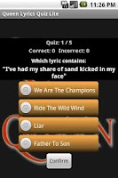 Screenshot of Queen Lyrics Quiz