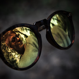 Reflected by Goran Matejin - Artistic Objects Clothing & Accessories ( mirror, reflection, girl, wood, trees, sunglasses )