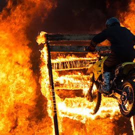 Bike man by Marcel Herciu - News & Events Entertainment ( extreme, bike, show, fire, man )