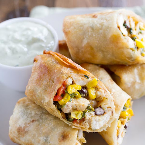 Southwestern Egg Rolls with Avocado Ranch Dipping Sauce