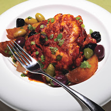 Roasted Chili-Citrus Chicken Thighs with Mixed Olives and Potatoes
