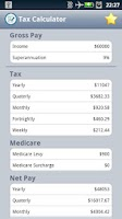 Screenshot of Easy Australian Tax Calculator