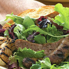 Grilled Sausage Salad with Ginger Crostini