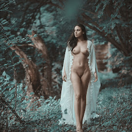 m by Kalin Kostov - Nudes & Boudoir Artistic Nude ( breast, nude, wood, boudoir, woman, dress, forest, legs, hair, women )