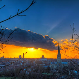 Norwich City Silver lined cloud by Ben Gadsby-Williams - City,  Street & Park  Skylines ( clouds, warm, sunset, sun, city )