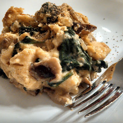 Meatless Monday ~ Mushroom and Spinach Strata with Smoked Gouda