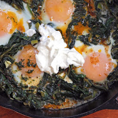 Yotam Ottolenghi's Skillet-Baked Eggs with Spinach, Yogurt, and Spiced Butter