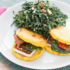 Queso & Pepper Arepas with Kale Salad