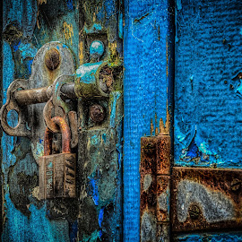 Shed Doors... by Graham Markham - Buildings & Architecture Other Exteriors ( shed, macro, peeling paint, bolt, blue, hinge, lock, rust, 100mm, padlock )