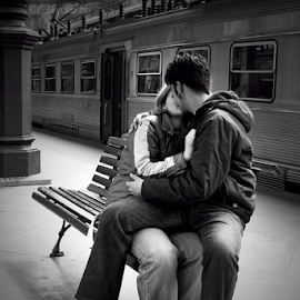 Love is in the air by Antonio Amen - People Couples ( bench, railway station, woman, train, couple, romance, man )