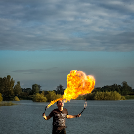 Like a dragon by Oliver Švob - People Musicians & Entertainers ( canon, croatia, show, entertainment, man, fire, flame )