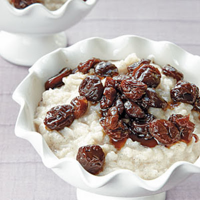 Cinnamon Rice Pudding with Dried-Cherry Sauce