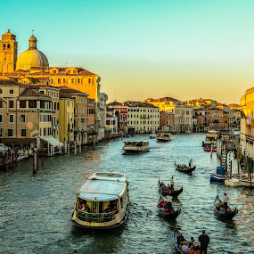 Venice by Natalia Photography - City,  Street & Park  Vistas ( water, historic district, boat, people, canal, sun, city, venezia, urban, gondola, sunset, lifestyle, venedig, venice, italy, , relax, tranquil, relaxing, tranquility )