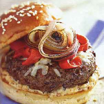 Beef and Andouille Burgers with Asiago Cheese