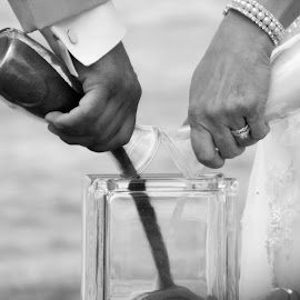 Black and White Sand Ceremony by Megan Costa - Wedding Ceremony
