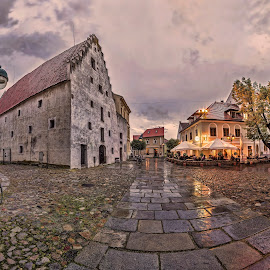 Piaristic Square by Petr Kubat - City,  Street & Park  Historic Districts ( ceske budejovice, piaristic, budejovice, české budějovice, monastery, night, square, city )