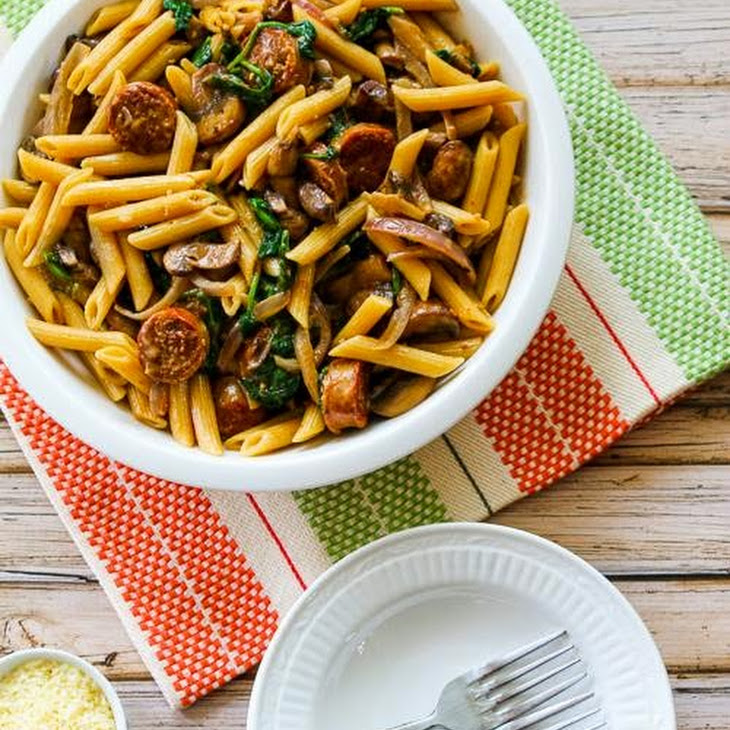 Penne Pasta with Spicy Italian Sausage, Mushrooms, and Spinach Recipe ...