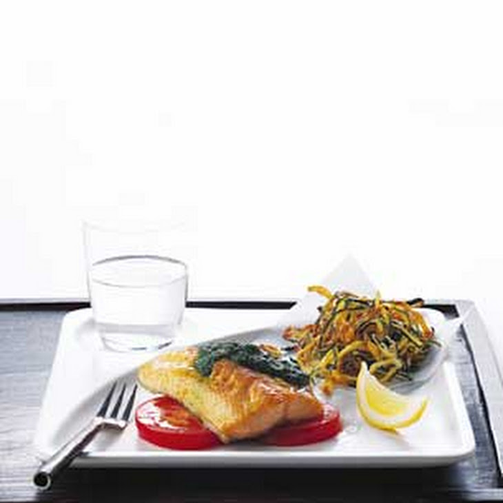 Broiled Arctic Char with Basil Sauce and Tomato