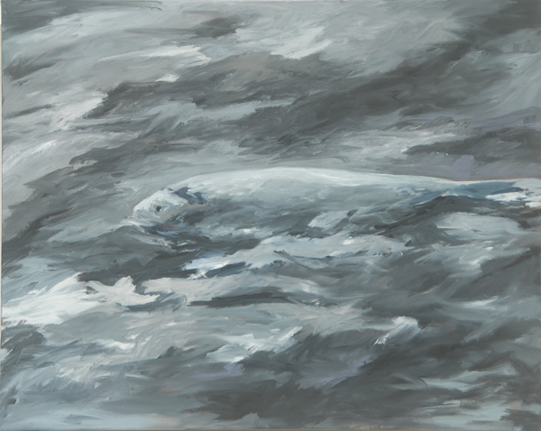 Grey Fish <br> Acrylic paint on canvas <br> 24 x 30 in