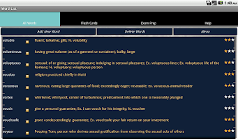 Screenshot of Word List