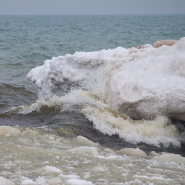 South Haven, MI by Jennifer Carnahan - Nature Up Close Water ( open waters crashing against iceberg )